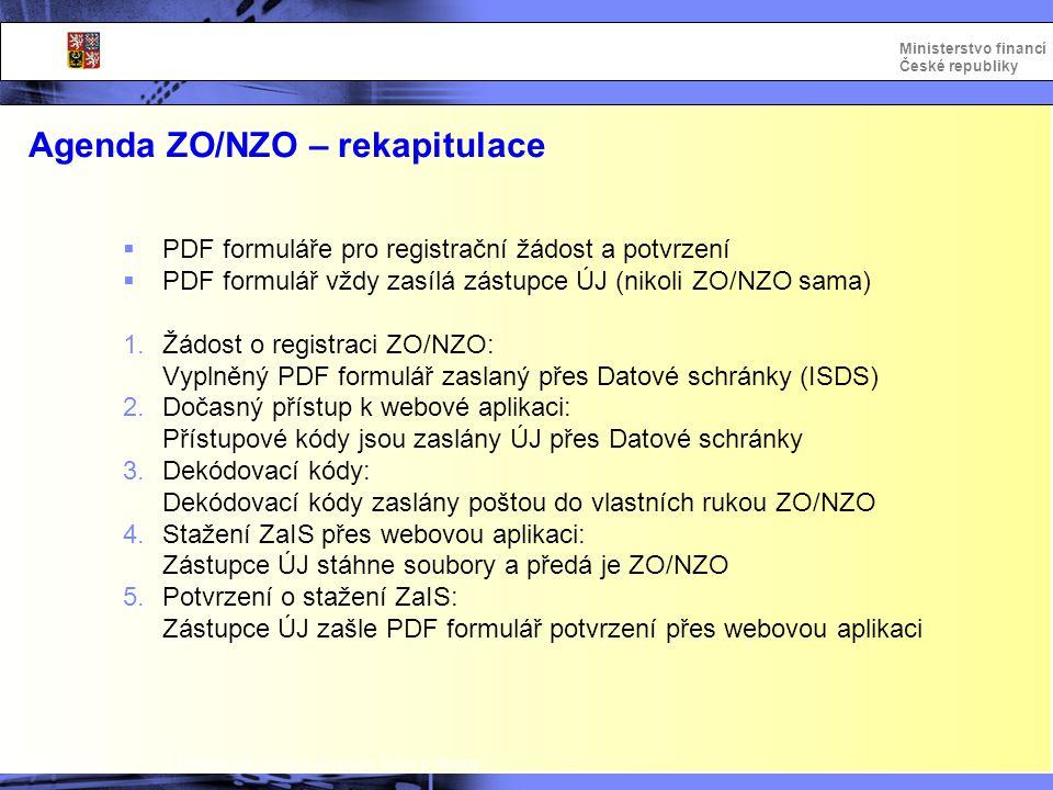 Agenda ZO/NZO – rekapitulace