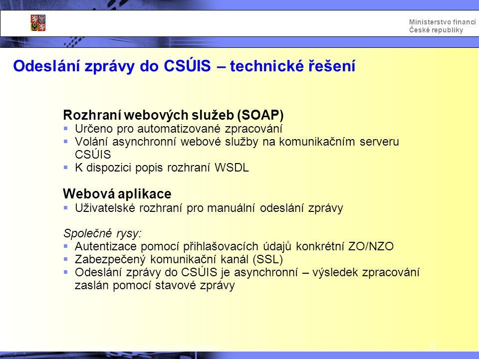 Odeslání zprávy do CSÚIS – technické řešení