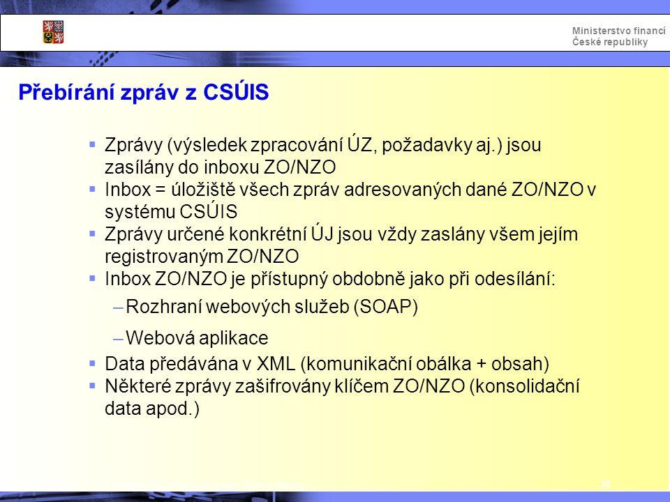 Přebírání zpráv z CSÚIS