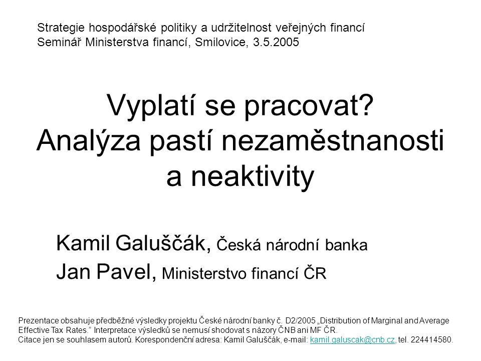Vyplatí se pracovat Analýza pastí nezaměstnanosti a neaktivity