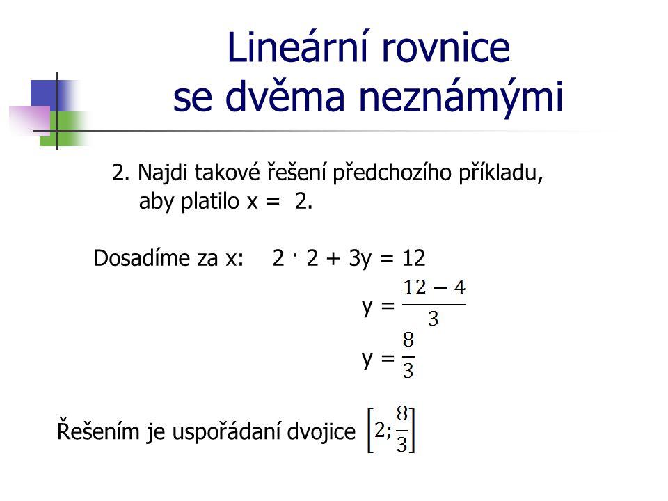 Lineární rovnice se dvěma neznámými