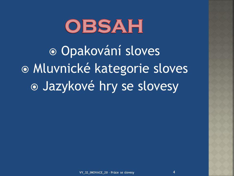 OBSAH Opakování sloves Mluvnické kategorie sloves