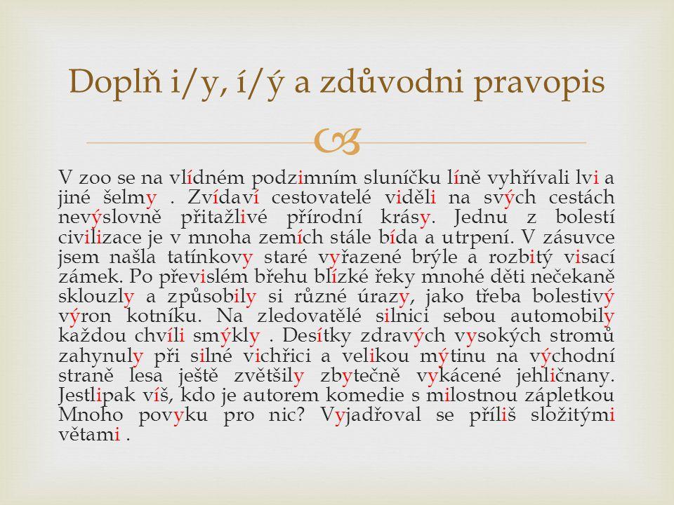 Doplň i/y, í/ý a zdůvodni pravopis