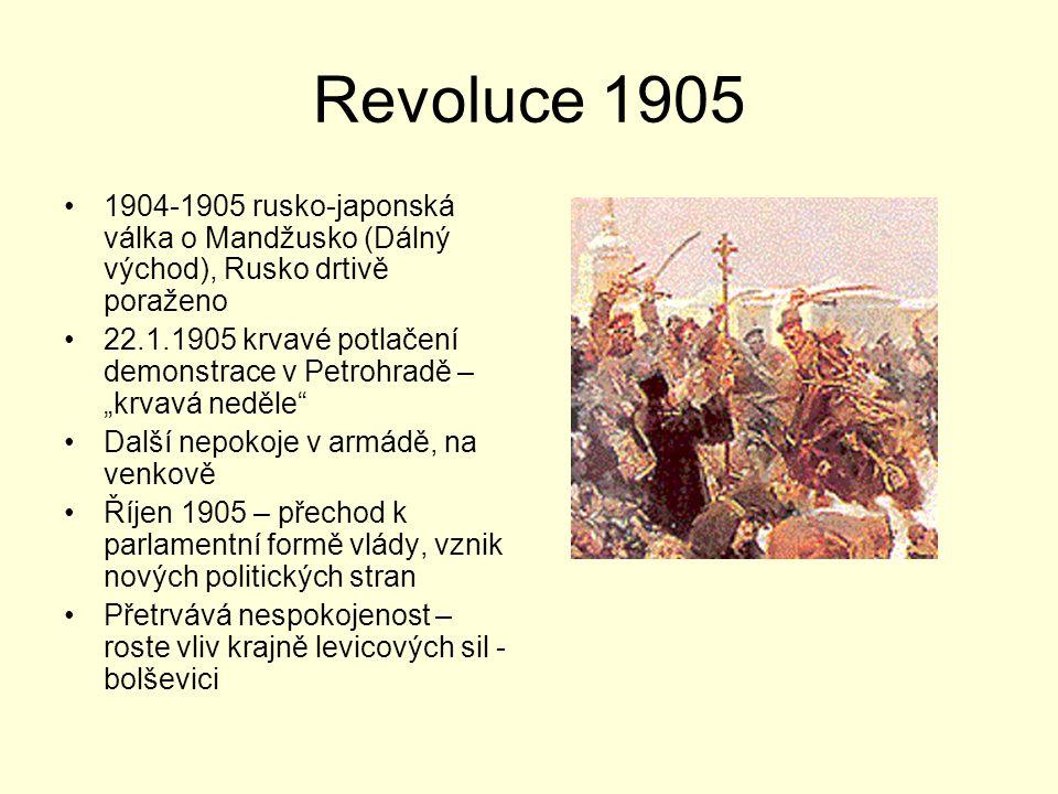 Revoluce 1905 1904-1905 rusko-japonská válka o Mandžusko (Dálný východ), Rusko drtivě poraženo.