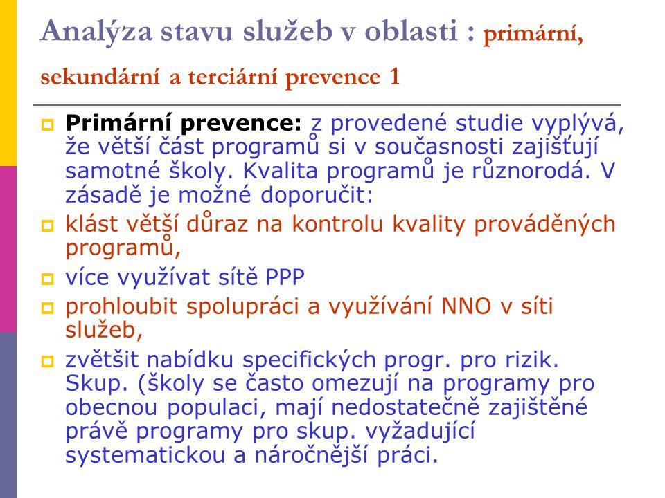 Analýza stavu služeb v oblasti : primární, sekundární a terciární prevence 1