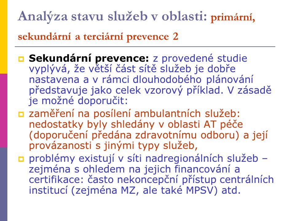 Analýza stavu služeb v oblasti: primární, sekundární a terciární prevence 2