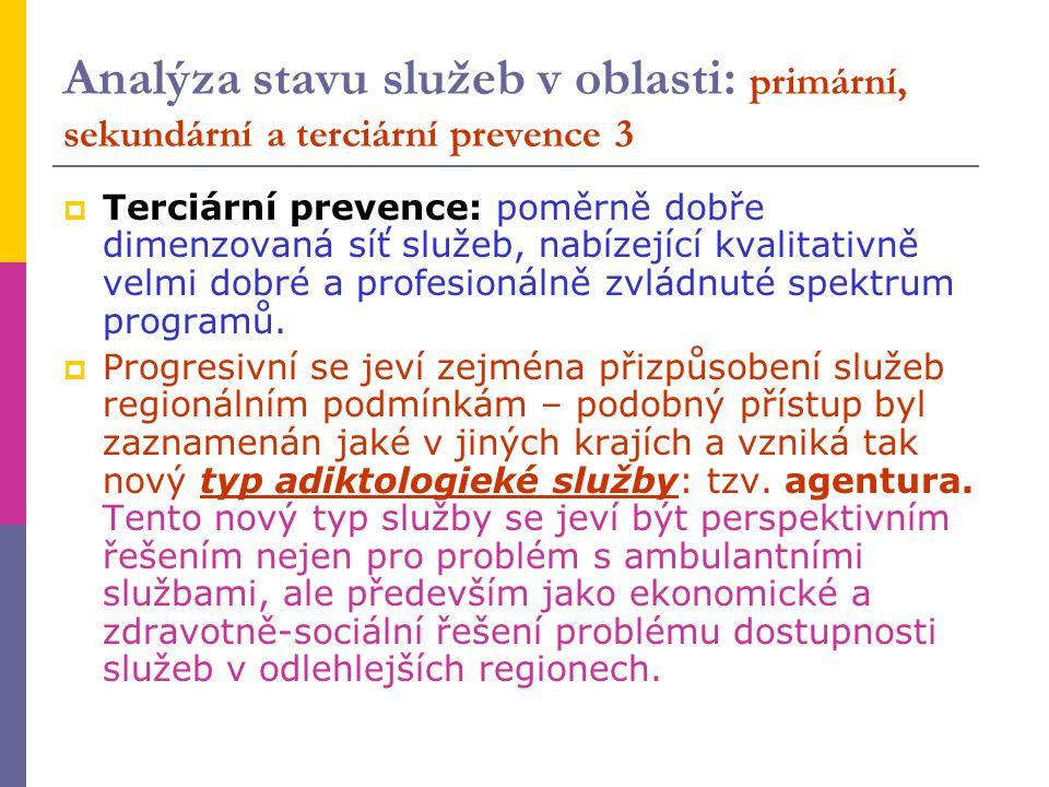 Analýza stavu služeb v oblasti: primární, sekundární a terciární prevence 3
