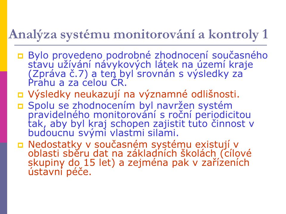 Analýza systému monitorování a kontroly 1