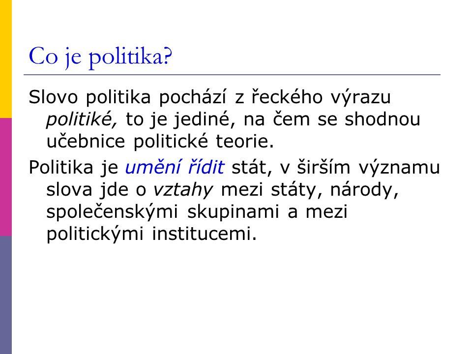 Co je politika Slovo politika pochází z řeckého výrazu politiké, to je jediné, na čem se shodnou učebnice politické teorie.
