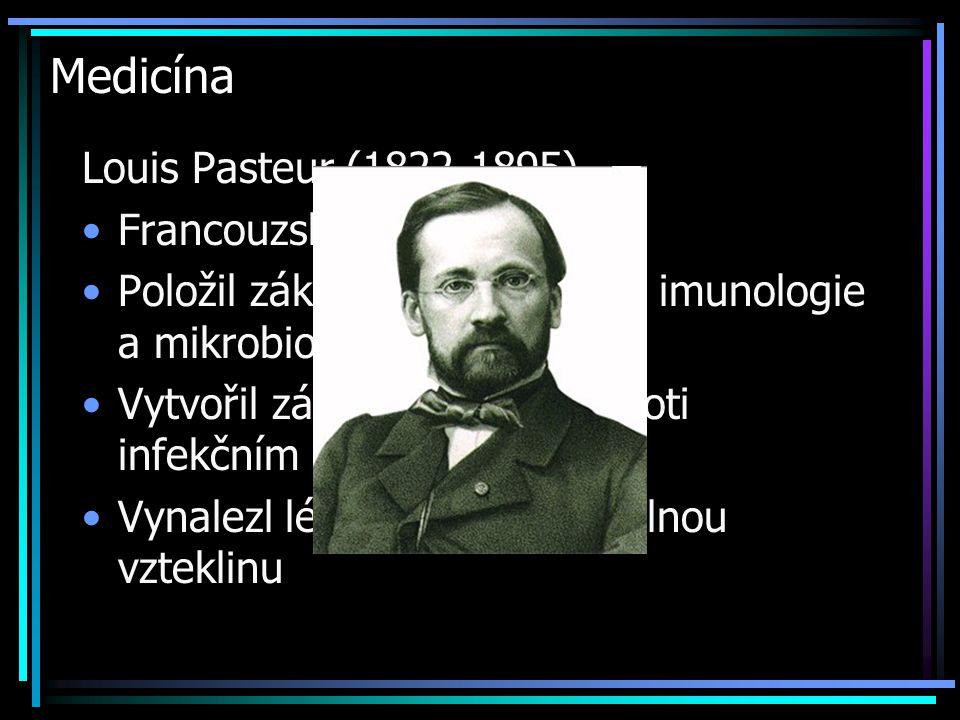 Medicína Louis Pasteur (1822-1895) Francouzský chemik