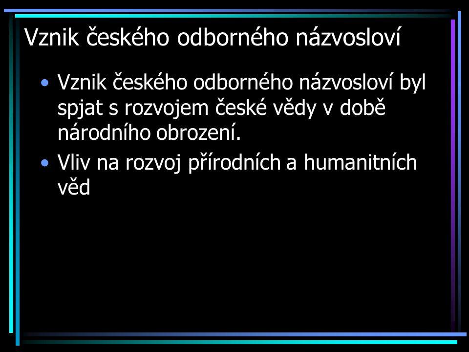 Vznik českého odborného názvosloví