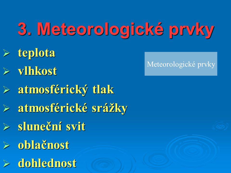 3. Meteorologické prvky teplota vlhkost atmosférický tlak