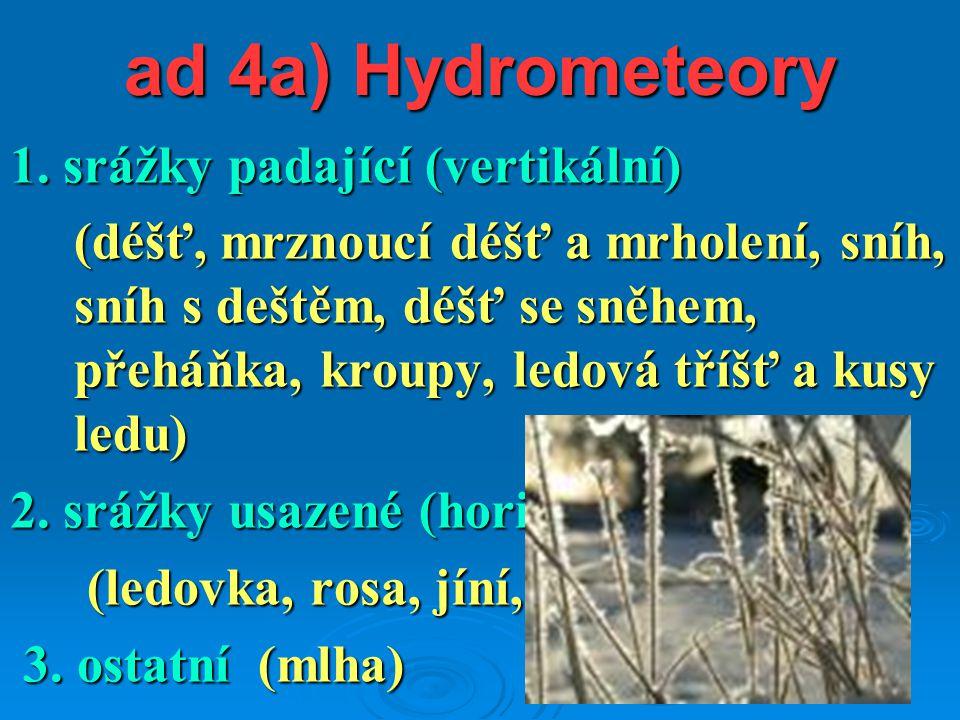ad 4a) Hydrometeory 1. srážky padající (vertikální)