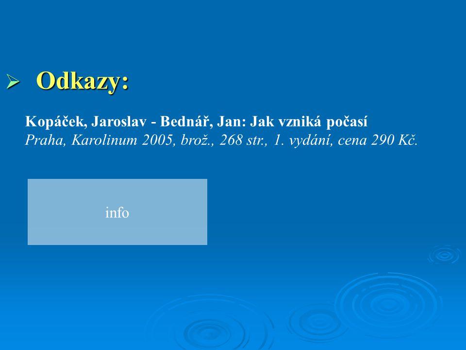 Odkazy: Kopáček, Jaroslav - Bednář, Jan: Jak vzniká počasí Praha, Karolinum 2005, brož., 268 str., 1. vydání, cena 290 Kč.