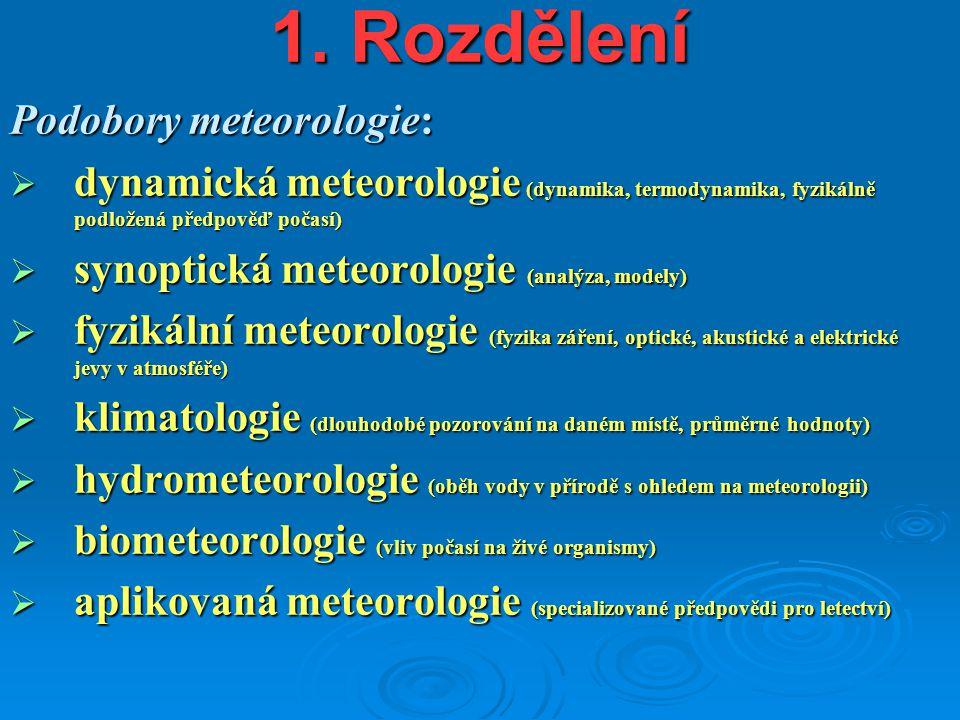 1. Rozdělení Podobory meteorologie:
