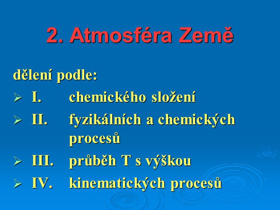 2. Atmosféra Země dělení podle: I. chemického složení