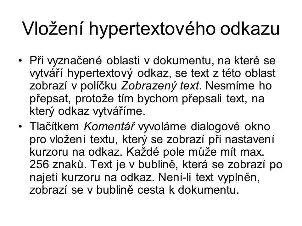 Vložení hypertextového odkazu