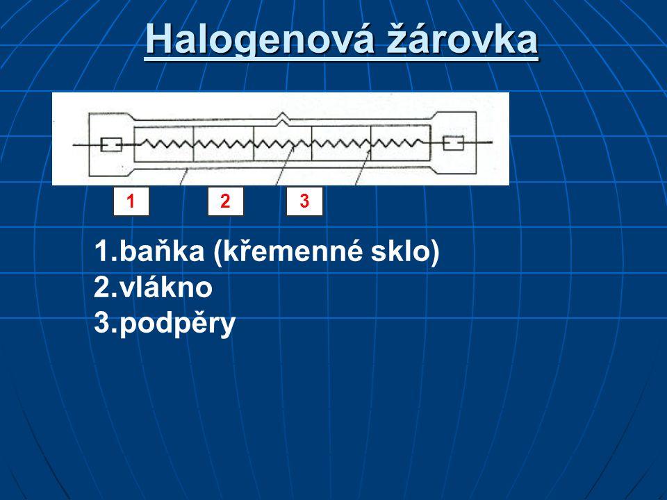 Halogenová žárovka 1 2 3 1. baňka (křemenné sklo) 2. vlákno 3. podpěry