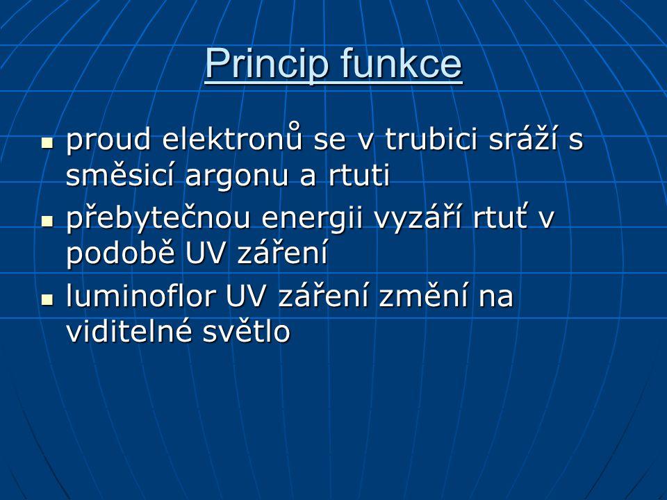 Princip funkce proud elektronů se v trubici sráží s směsicí argonu a rtuti. přebytečnou energii vyzáří rtuť v podobě UV záření.