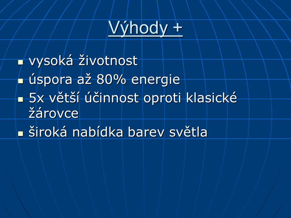 Výhody + vysoká životnost úspora až 80% energie