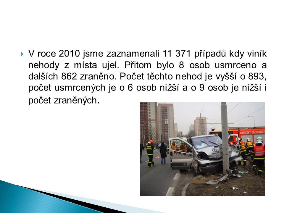 V roce 2010 jsme zaznamenali 11 371 případů kdy viník nehody z místa ujel.