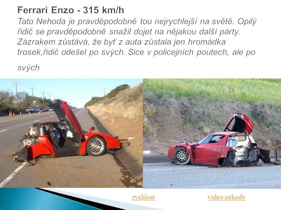 Ferrari Enzo - 315 km/h Tato Nehoda je pravděpodobně tou nejrychlejší na světě. Opilý řidič se pravděpodobně snažil dojet na nějakou další párty. Zázrakem zůstává, že byť z auta zůstala jen hromádka trosek,řidič odešel po svých. Sice v policejních poutech, ale po svých