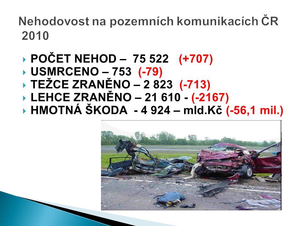 Nehodovost na pozemních komunikacích ČR 2010