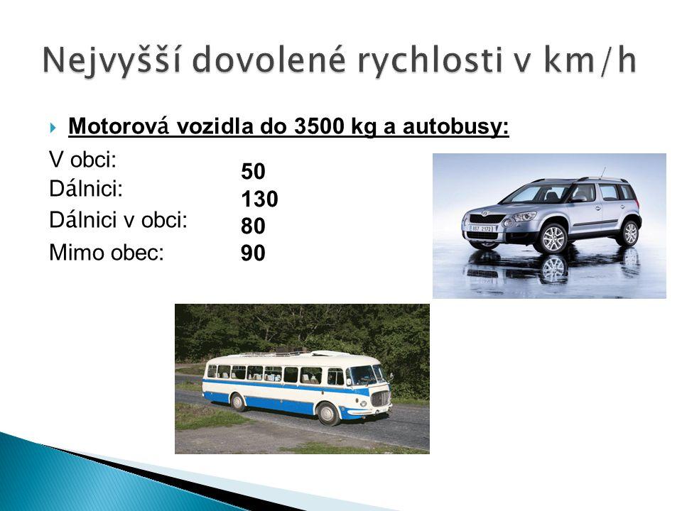 Nejvyšší dovolené rychlosti v km/h