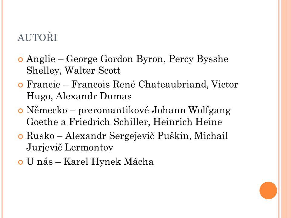 autoři Anglie – George Gordon Byron, Percy Bysshe Shelley, Walter Scott. Francie – Francois René Chateaubriand, Victor Hugo, Alexandr Dumas.