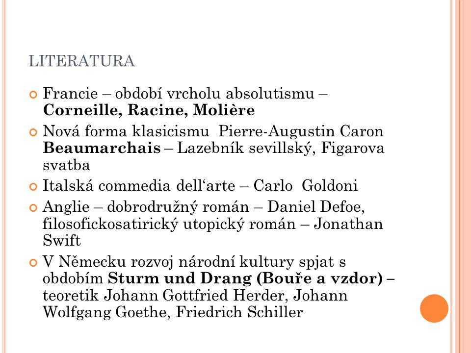 literatura Francie – období vrcholu absolutismu – Corneille, Racine, Molière.