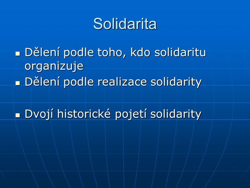 Solidarita Dělení podle toho, kdo solidaritu organizuje