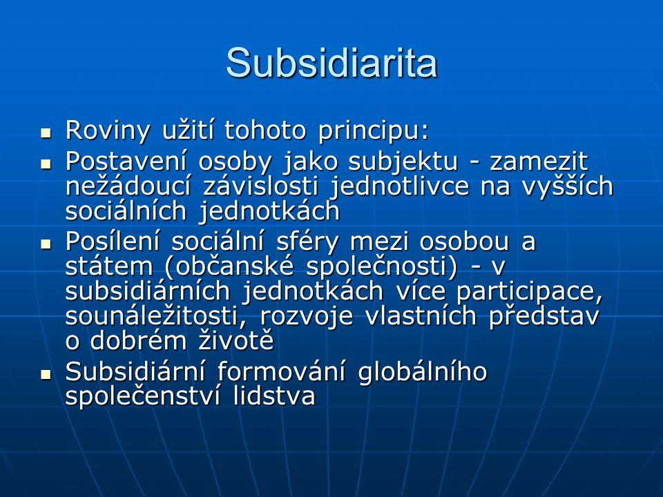 Subsidiarita Roviny užití tohoto principu: