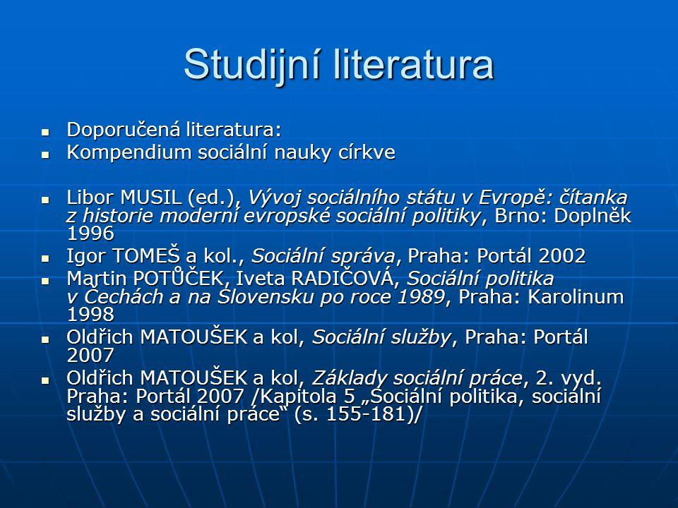 Studijní literatura Doporučená literatura:
