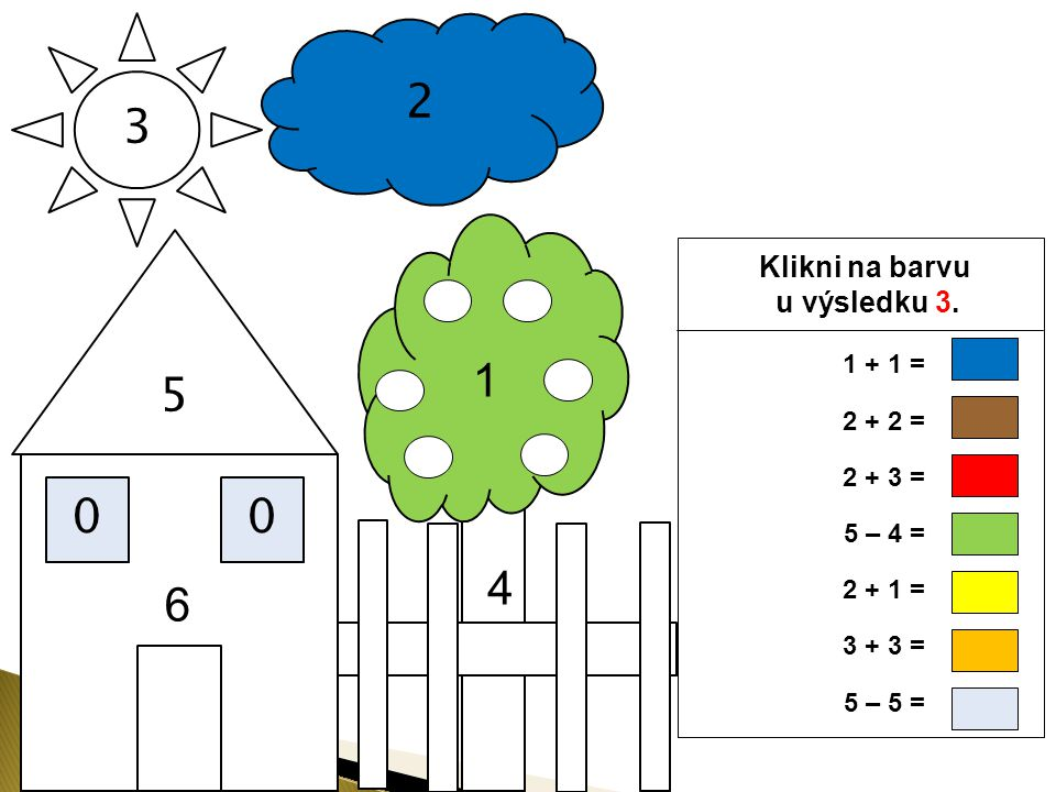 2 3 5 1 4 6 Klikni na barvu u výsledku 3. 1 + 1 = 2 + 2 = 2 + 3 =