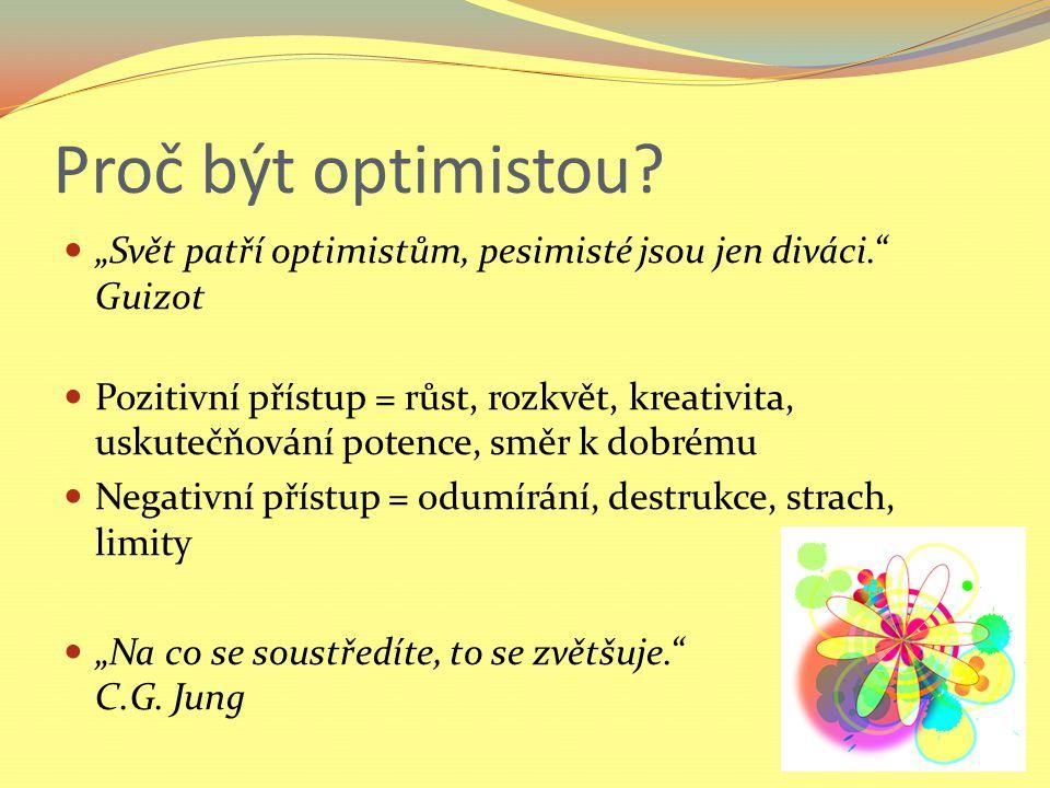 """Proč být optimistou """"Svět patří optimistům, pesimisté jsou jen diváci. Guizot."""