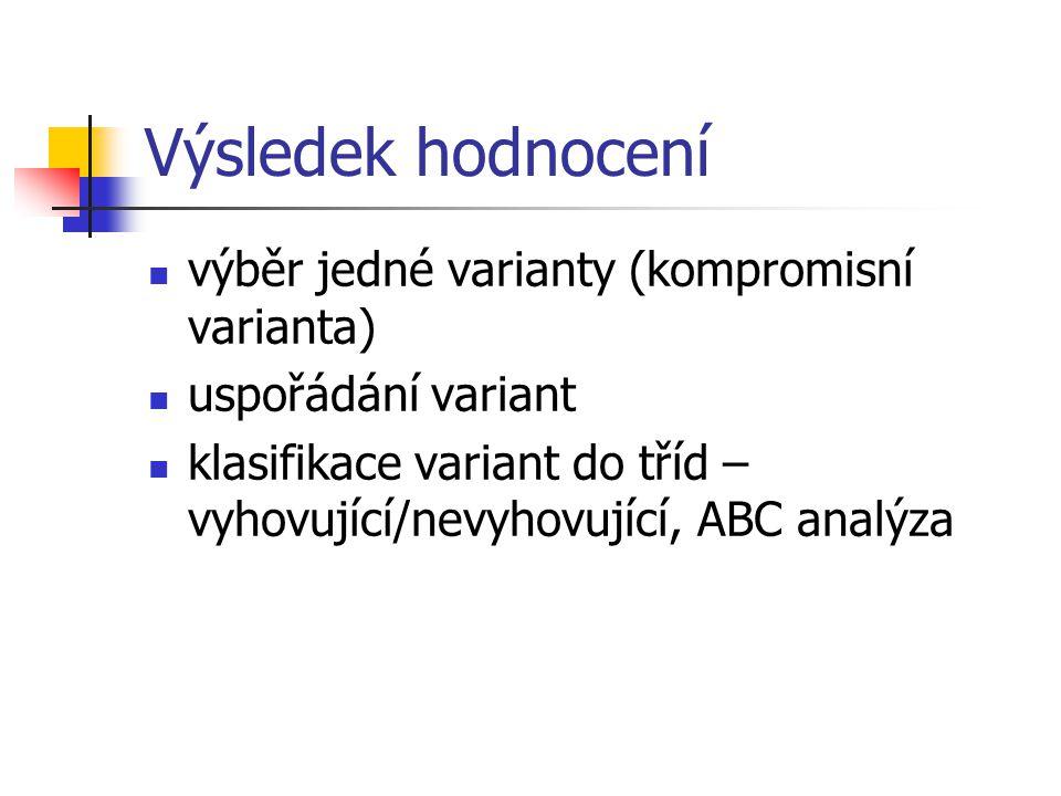 Výsledek hodnocení výběr jedné varianty (kompromisní varianta)