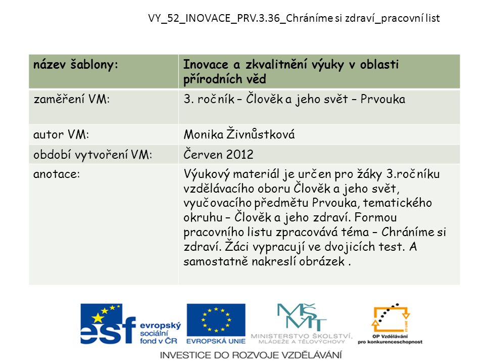 VY_52_INOVACE_PRV.3.36_Chráníme si zdraví_pracovní list