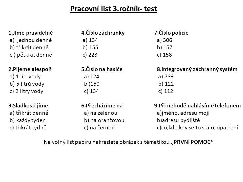 Pracovní list 3.ročník- test