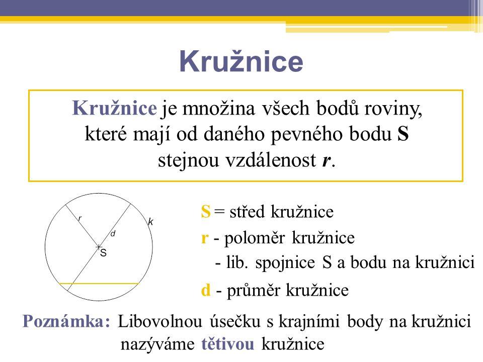 Kružnice Kružnice je množina všech bodů roviny,