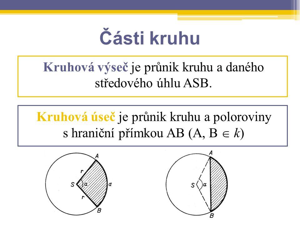 Kruhová výseč je průnik kruhu a daného středového úhlu ASB.
