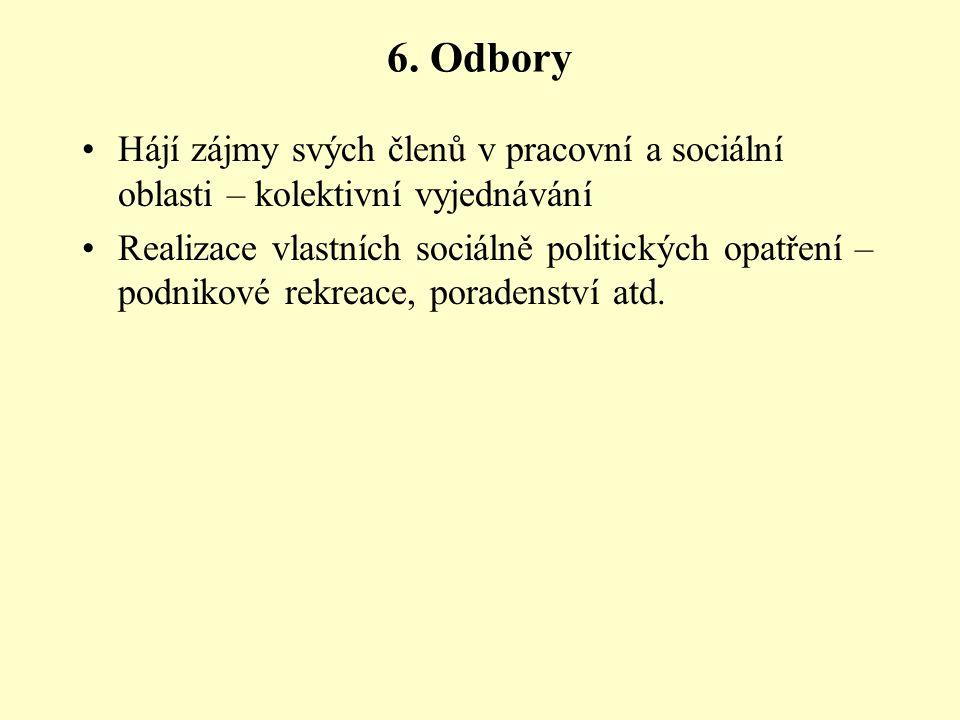 6. Odbory Hájí zájmy svých členů v pracovní a sociální oblasti – kolektivní vyjednávání.