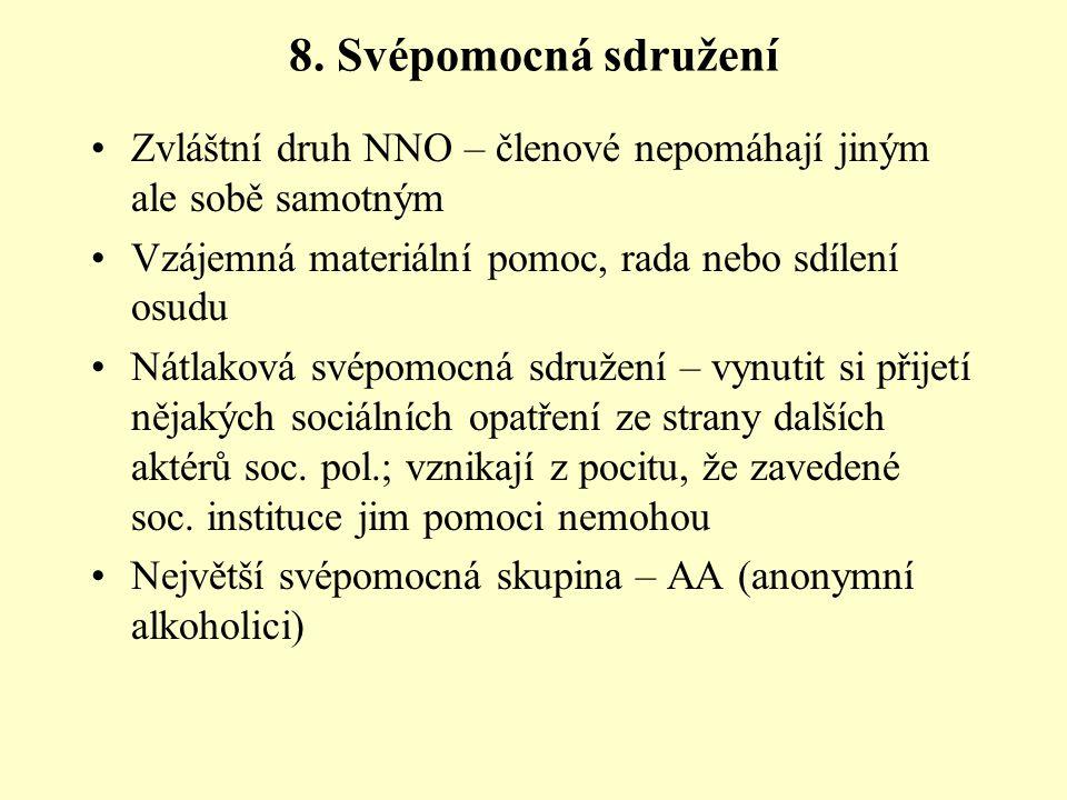 8. Svépomocná sdružení Zvláštní druh NNO – členové nepomáhají jiným ale sobě samotným. Vzájemná materiální pomoc, rada nebo sdílení osudu.