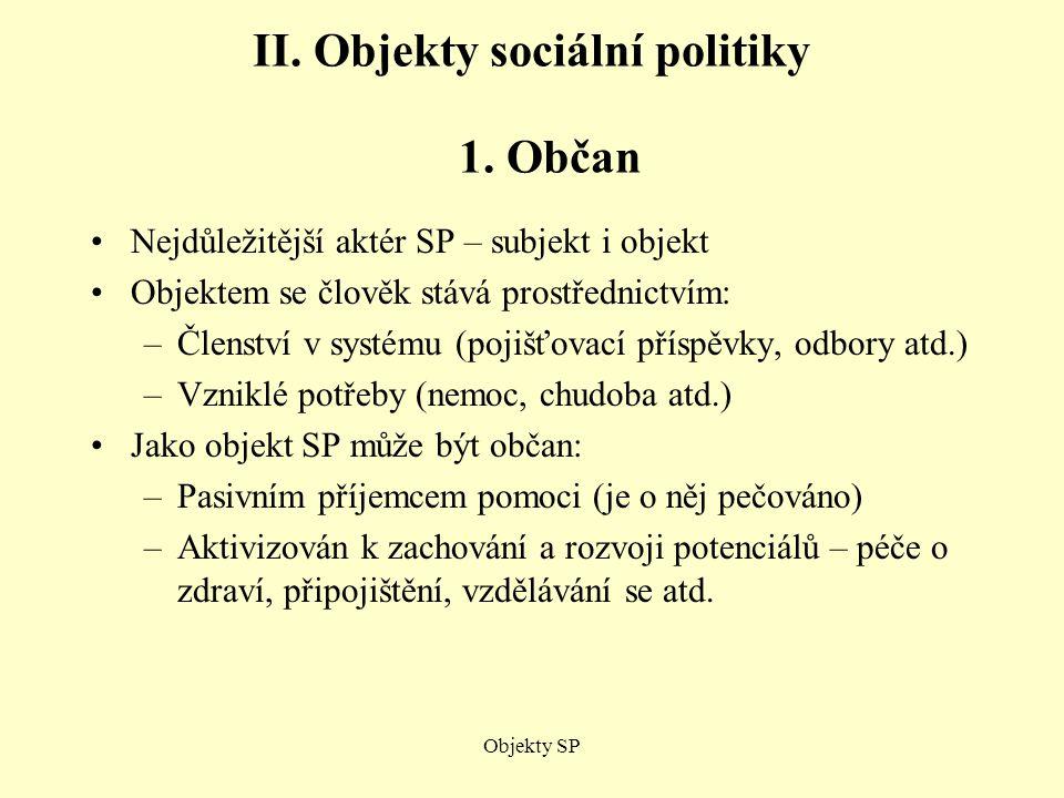 II. Objekty sociální politiky