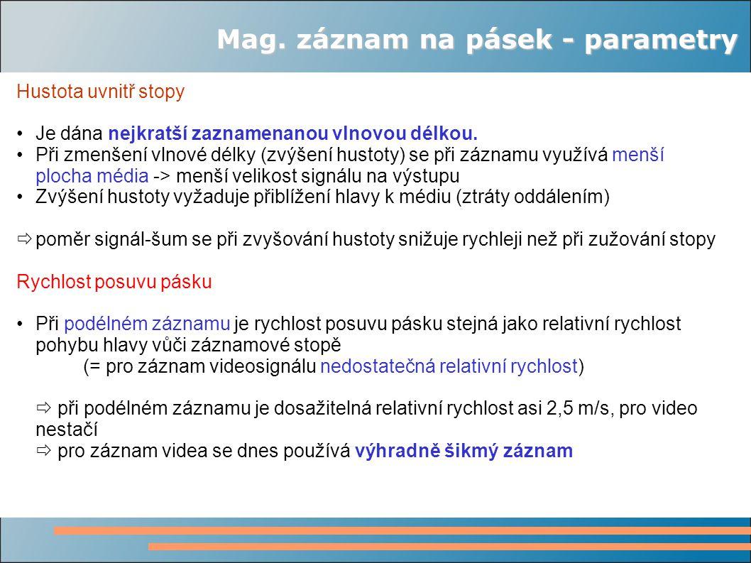 Mag. záznam na pásek - parametry