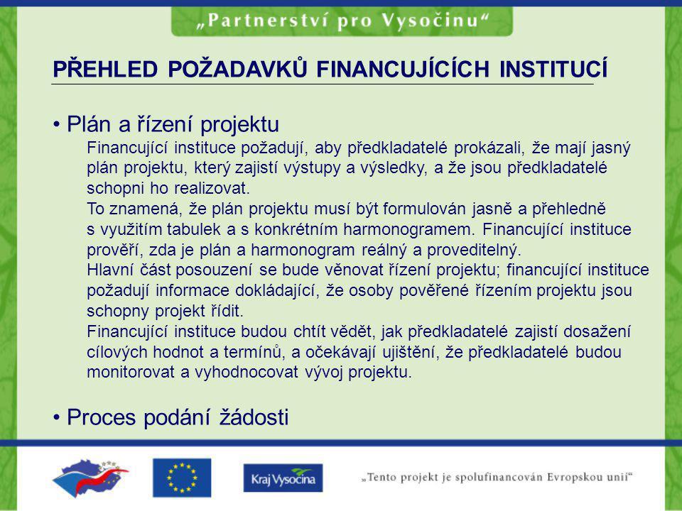PŘEHLED POŽADAVKŮ FINANCUJÍCÍCH INSTITUCÍ Plán a řízení projektu
