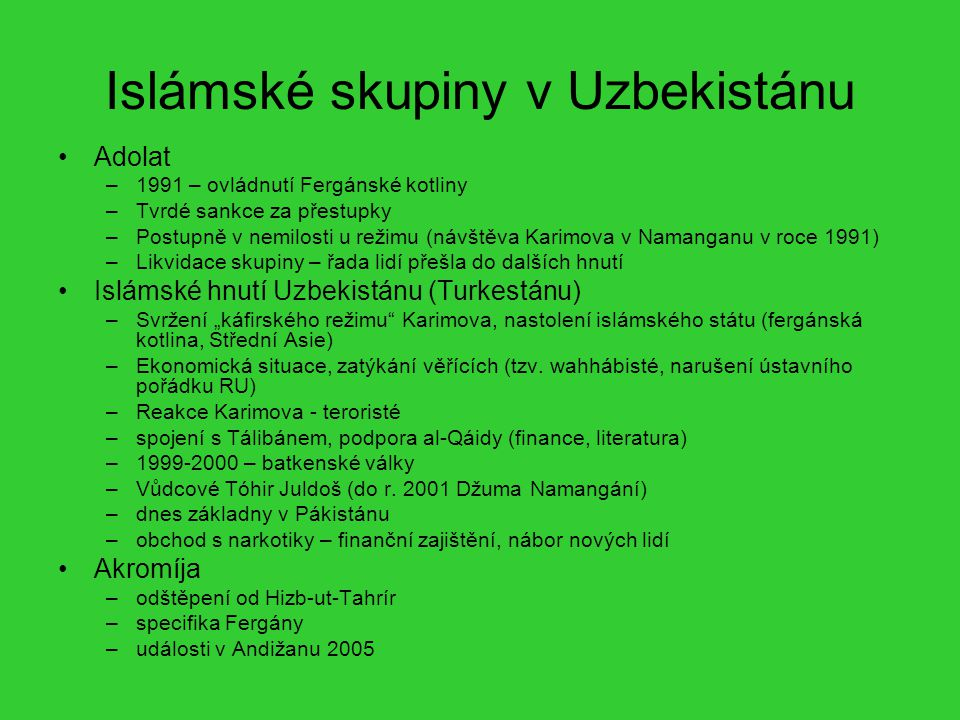 Islámské skupiny v Uzbekistánu