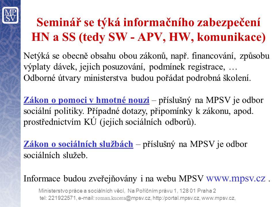 Seminář se týká informačního zabezpečení HN a SS (tedy SW - APV, HW, komunikace)