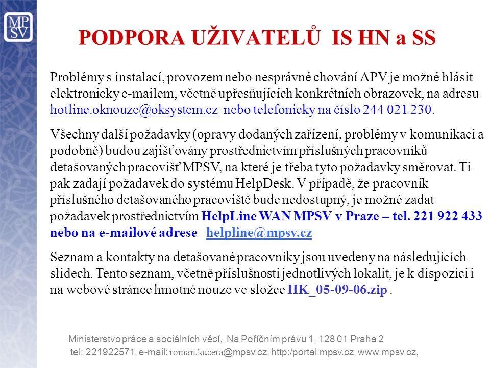 PODPORA UŽIVATELŮ IS HN a SS