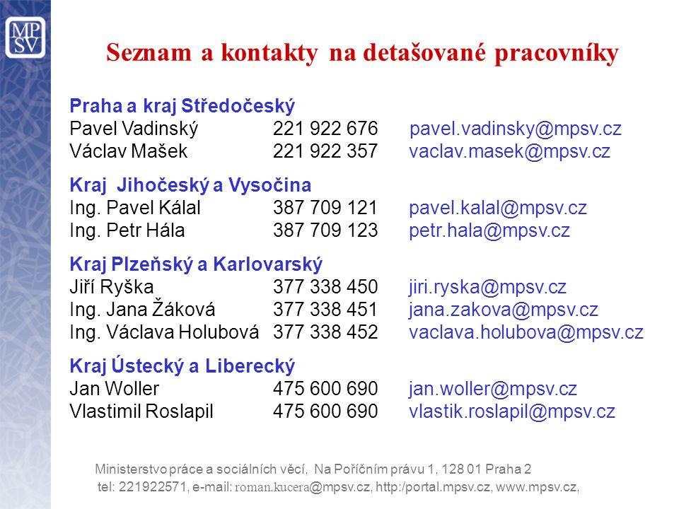 Seznam a kontakty na detašované pracovníky