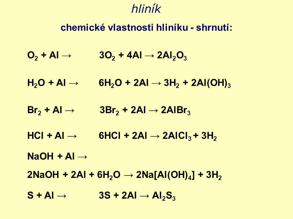 hliník chemické vlastnosti hliníku - shrnutí: O2 + Al →